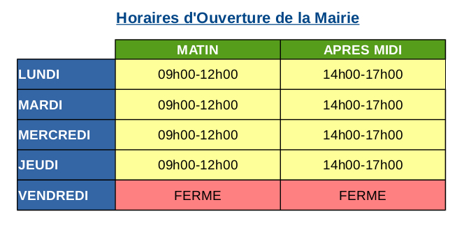 Horaires Mairie Vicq juillet 2020